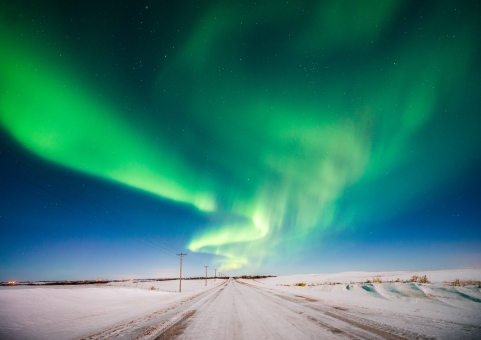 photo of northern lights aka aurora borealis alberta prairie near irma