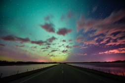 aurora borealis, clouds and light pollution
