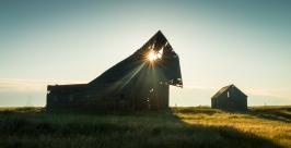 barn, sunrise, dawn
